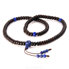 Tibetan mala made of coconut shell and lapis lazuli